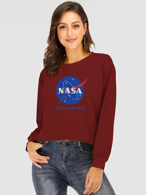 Dresswel Women Nasa Letter Space Graphic Blouse Long Sleeve Pullover Sweatshirts Tops