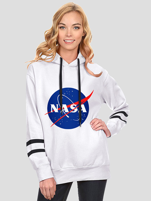 Dresswel Women NASA Letter Space Graphic Pullover Drawstring Hoodie Tops