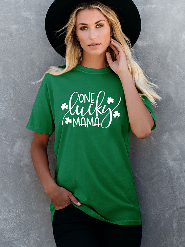 Dresswel Women One Lucky Mama Clover Graphic St. Patrick's Day T-Shirt Tops
