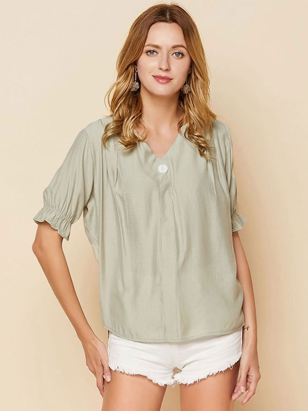 Dresswel Women Puff Sleeve Solid Color Knot Back Blouse Tops