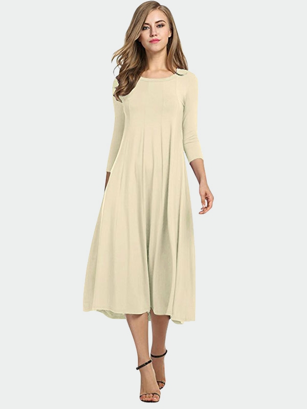 Dresswel Women Pure Color Big Swing Pullover Maxi Dress