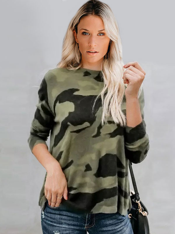 Dresswel Women Round Neck Camouflage Print Long Sleeves Pullover Casual Blouse Tops