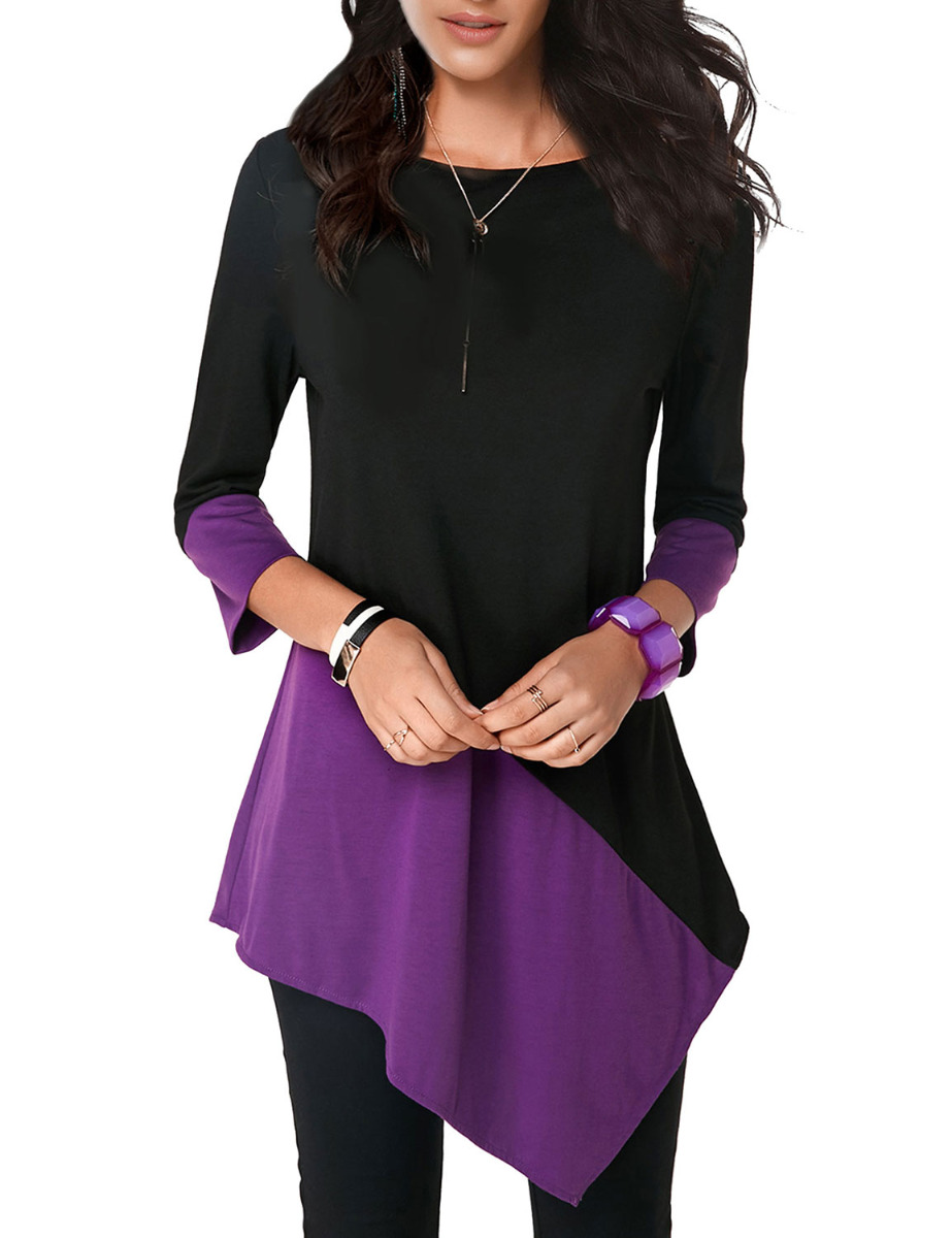 Dresswel Women Round Neck Color Block Stitching Long Sleeve Asymmetric Hem Trim Tunic Blouse Tops