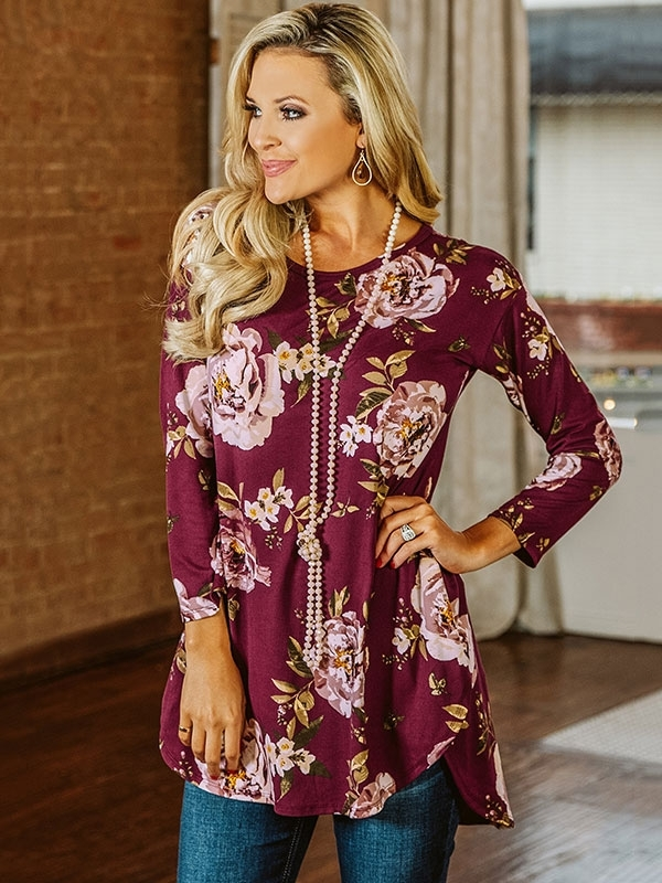 Dresswel Women Round Neck Floral Print Long Sleeve Scoop Hem Tunic Blouse Tops