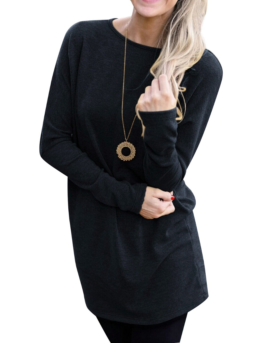 Dresswel Women Round Neck Long Sleeve Solid Color Pullover Tunic Blouse Tops