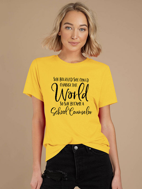 Dresswel Women She Believed She Could Letter Printing Casual Plain T-Shirts Tops