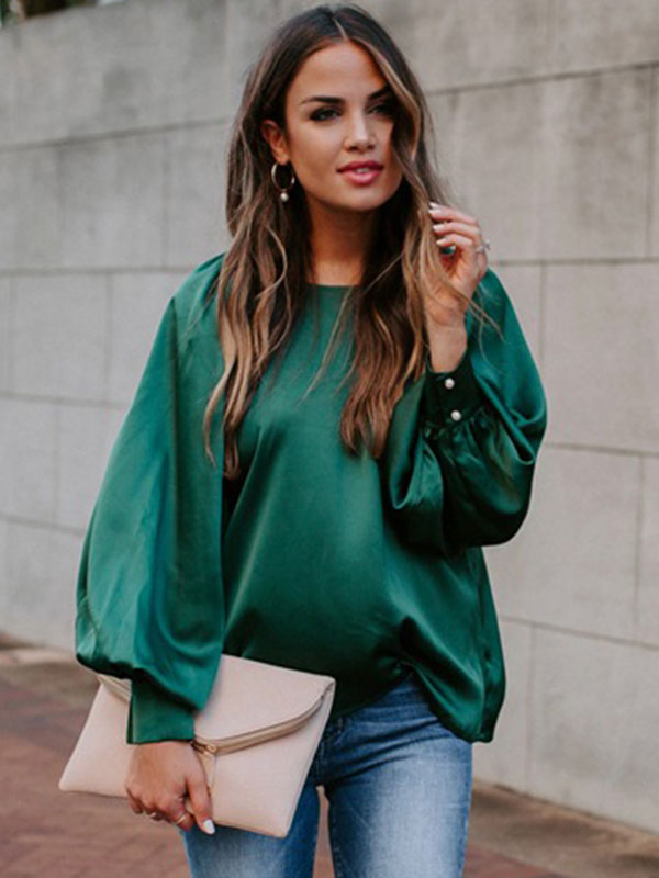 Dresswel Women Solid Color Crew Neck Puff Sleeve Casual Loose Fit Shirt Blouse Tops