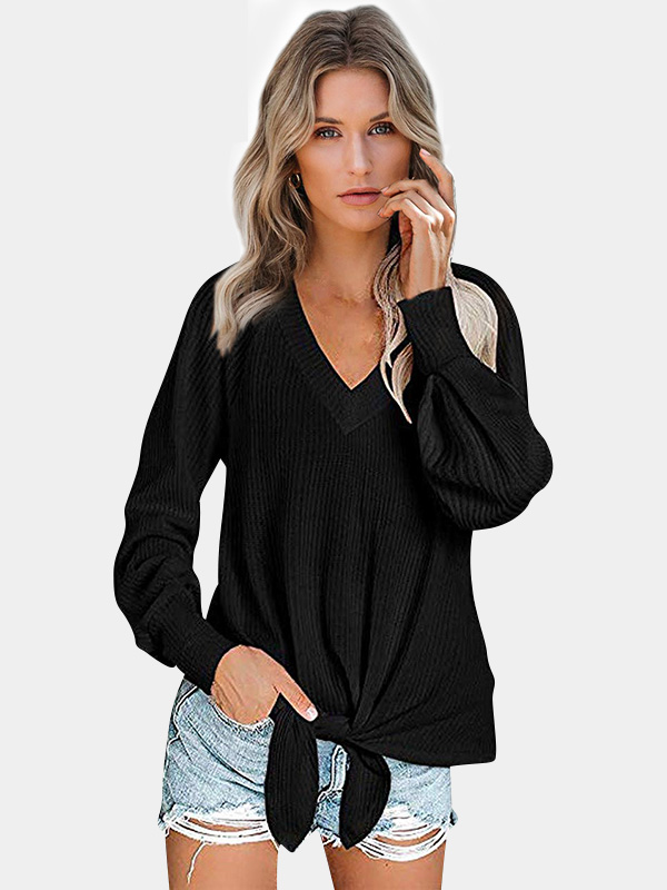 Dresswel Women Solid Color Knot Front Shirts V Neck Casual Knitted Blouse Tops