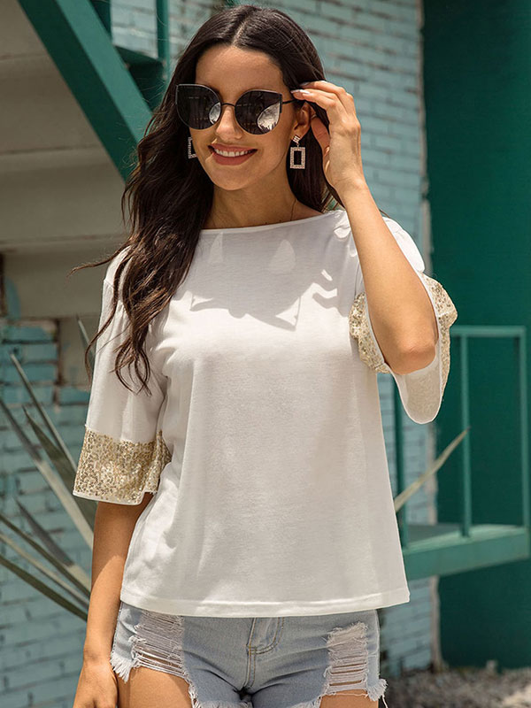 Dresswel Women Solid Color Sequin Half Sleeve T-Shirt Crew Neck Casual Loose Fit T-Shirt Tops