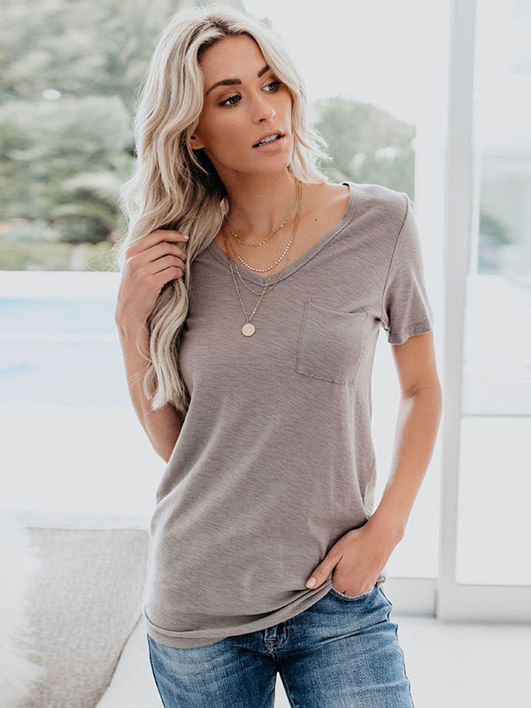 Dresswel Women V Neck Pockets Tees Short Sleeve Solid Color Casual T-Shirts Tops