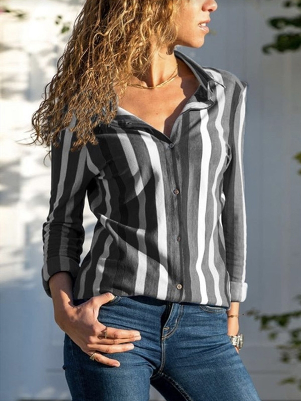 Dresswel Women Vertical Stripes Shirts Classic Collared Button Blouse Tops