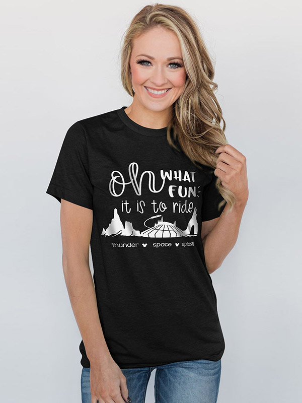 Dresswel Women What Fun It Is to Ride Letter Print Casual Graphic T-Shirt Tops